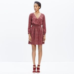 Madewell Silk Faux-Wrap Dress in Paintbrush Dot